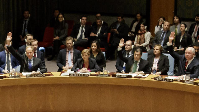 The UN Security Council voting on the resolution, as Power, representing the US, abstains (Photo: EPA) (Photo: EPA)