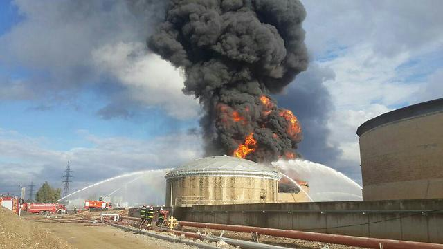 Gas refinery on fire