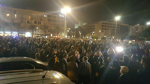 Thousands descend on Rabin Square for the rally.