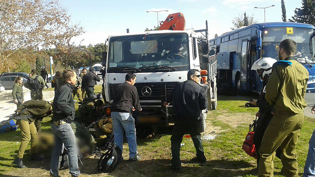 The truck used in the East Talpiot attack a year ago