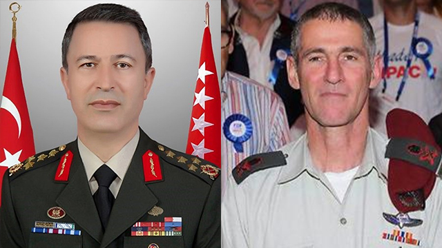 IDF Deputy Chief of Staff Golan with Turkish Chieff of Staff Akar (Photo: Motti Kimchi)