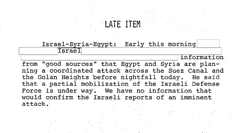 Intelligence briefing for Nixon on October 6, 1973