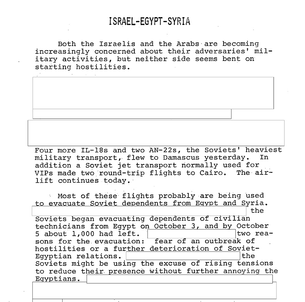 CIA report before the war broke out