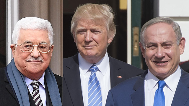 Trump, Netanyahu and Abbas. 'Israeli officials will you that one can't work with the Palestinians or trust them. That is a lie you have already discovered for yourself' (Photo: AFP)  (Photo: AFP)