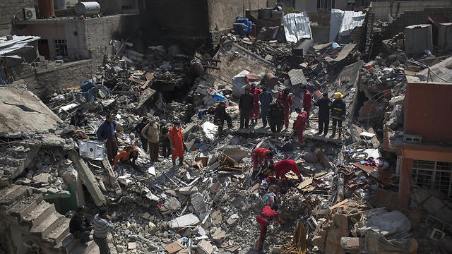 Destruction in Mosul after US-led airstrikes. No condemnations, no protests (Photo: AP)