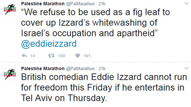 Tweets sent out by the organizers of the Palestine Marathon regarding Izzard's participation