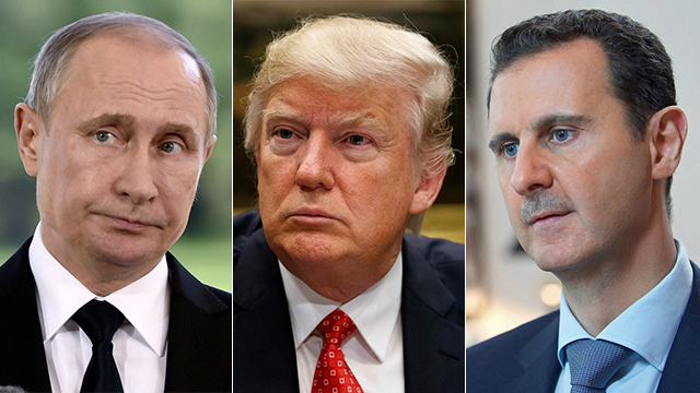 US President Trump (center) must act in Bashar Assad's Syria or Russian President Putin (L) will (Photo: AP/EPA/Reuters)