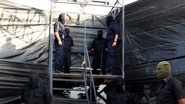 Gallows erected for the execution in a Hamas police compound