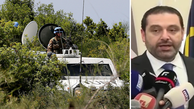 Hezbollah forces touring the Lebanese-Israeli border; Hariri (Photos:EPA)