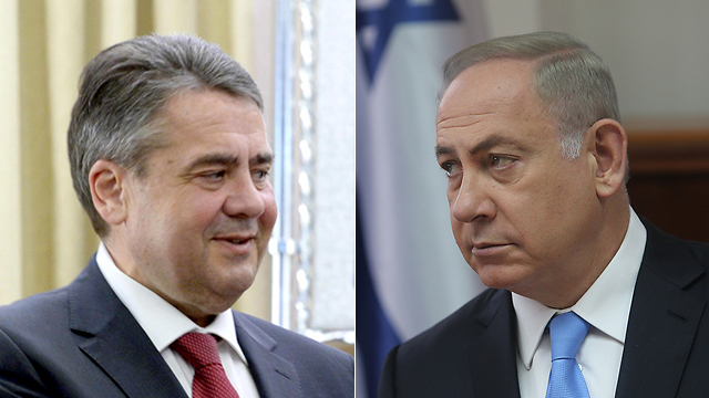 German Foreign Minister Gabriel (L) and PM Netanyahu showed a difference of opinion on the two-state solution (Photo: Marc Neiman/GPO, Alex Kolomoisky)