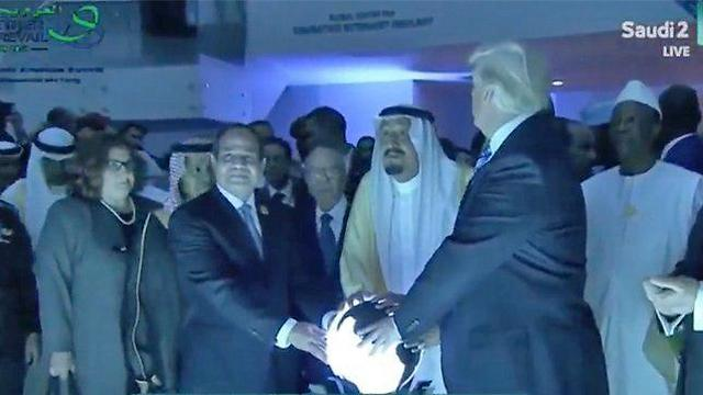 Donald Trump with the Egyptian and Saudi leaders in Riyadh in May 2017
