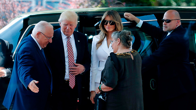 President Rivlin and his wife Nechama welcoming Trump and First Lady Melania (Photo: AFP)