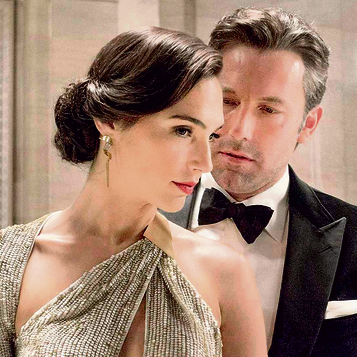 With Ben Affleck in 'Batman vs. Superman' (2016). Her first time as Wonder Woman