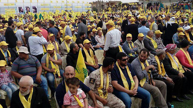 Crowds of Hezbollah supporters gather to hear Nasrallah's remarks