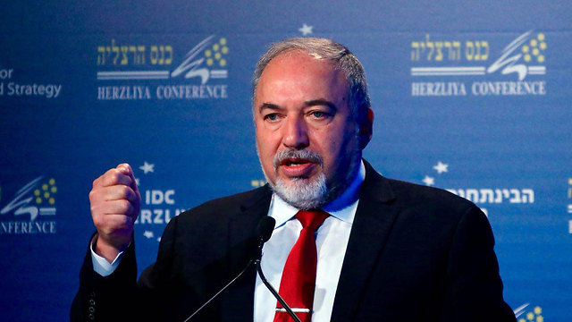 Lieberman at the Herzliya Conference (Photo: Motti Kimchi)