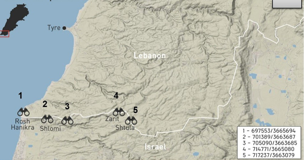 Map detailing the observation posts along the border.