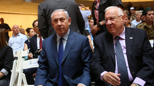 PM Netanyahu (L) and President Reuven Rivlin  (Photo: Alex Kolomoisky)