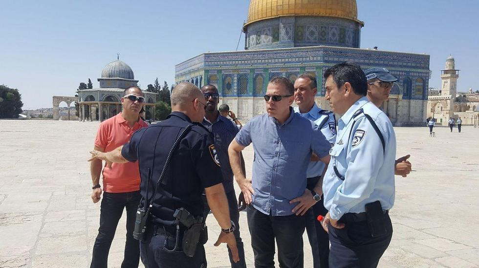 Erdan at the Temple Mount after the attack