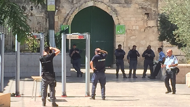 Metal detectors installed in the compound (Photo: Gil Yohanan)