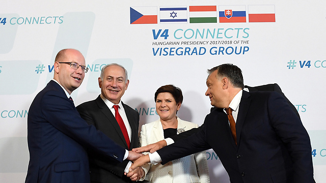 Netanyahu with the Visegrad Group leaders in July
