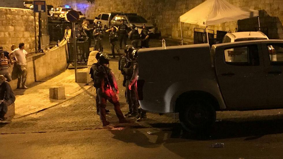 Police near the entrance to the Temple Mount