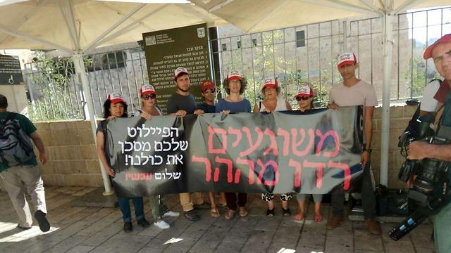Peace now activists with signs saying: 'You crazy people, get off the mount, your pilot endangers us all' (Photo: Ir Amim)
