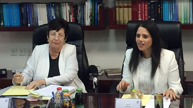 Outgoing Supreme Court Chief Justice Naor with Justice Minister Shaked (Photo: Justice Minister's Office) (Photo: Ministry of Justice Spokesperson)