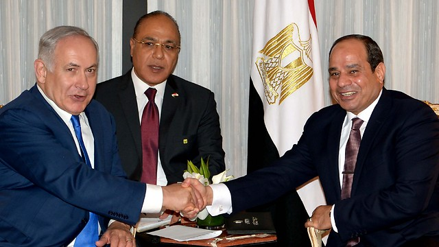 """PM Netanyahu with President al-Sisi in 2017 (צילום: אבי אוחיון, לע""""מ)"""