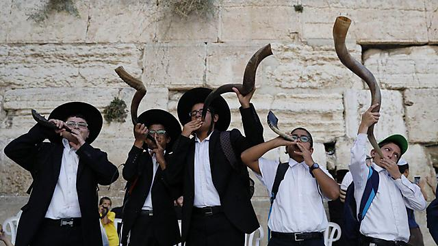 Ultra-Orthodox Jews blowing the shofar in celebration of Rosh Hashanah (Photo: EPA)