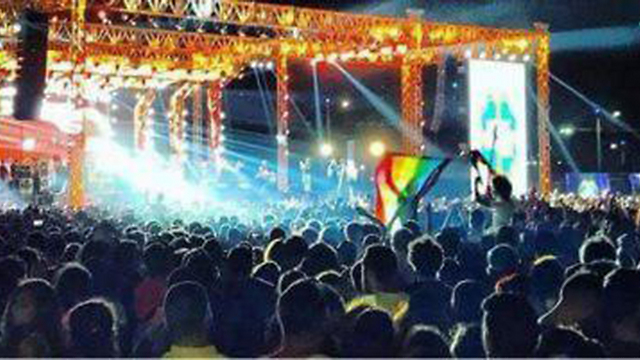 Footage of pride flag being raised at Egyptian concert