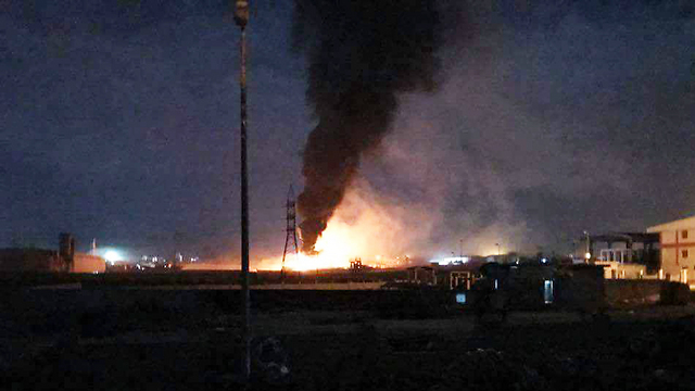 A photo posted online after attack, claiming to be of the Israeli strike in Syria