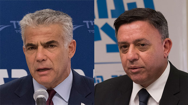 Gabbay (R) and Lapid blast Netanyahu following attack on police chief  (Photo: Yoav Dudkevitch)