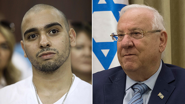 Elor Azaria and President Rivlin (Photo: Yoav Dudkevitch, AFP)
