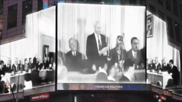 Still from Times Square video showing first PM Ben Gurion (Photo: WZO)