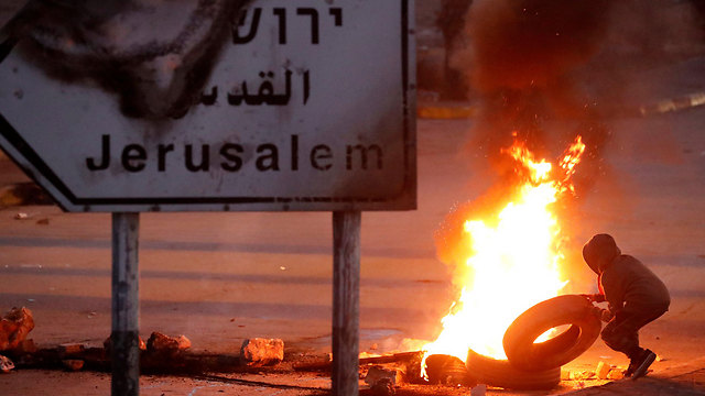 Riots in Ramallah following President Trump's recognition of Jerusalem as Israeli capital (photo: Reuters)