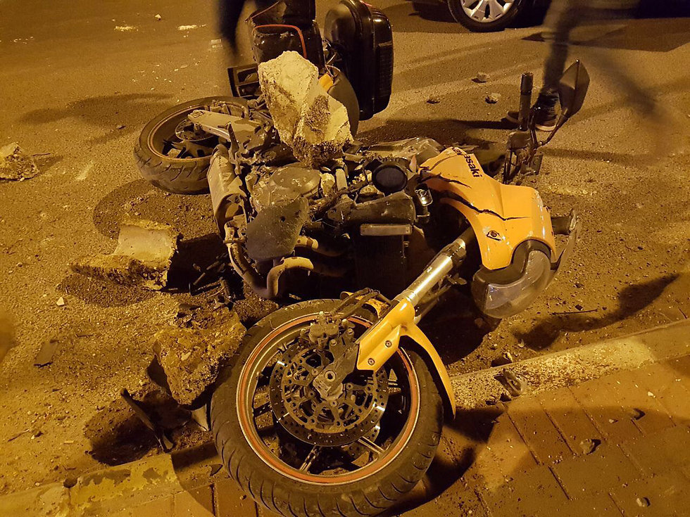 Nechushtan's bike, after the incident (Photo: Gil Nechushtan)
