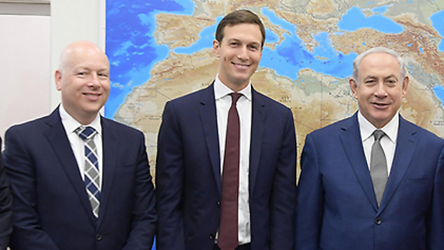Prime Minister Netanyahu, right, with Jared Kushner and Jason Greenblatt (Photo: Amos Ben Gershom/GPO)