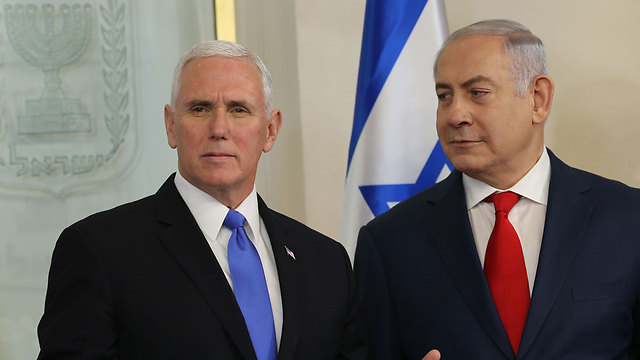 Netanyahu and Pence. The prime minister is likely aware of what is taking place behind the scenes (Photo: Alex Kolomoisky)