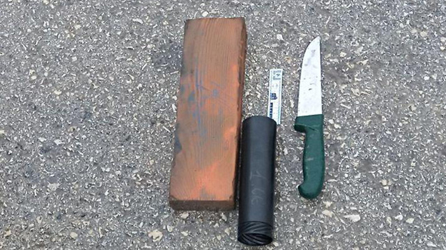 The knives wielded by the would-be terrorists (Photo: Keren Perlman/TPS)