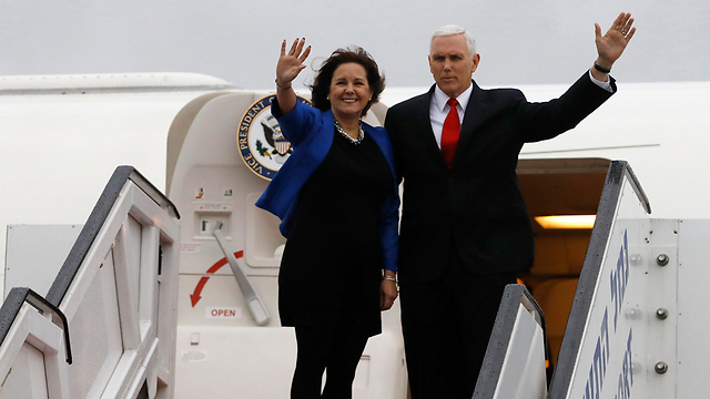 US VP Pence and his wife, on their departure from Israel (Photo: EPA)