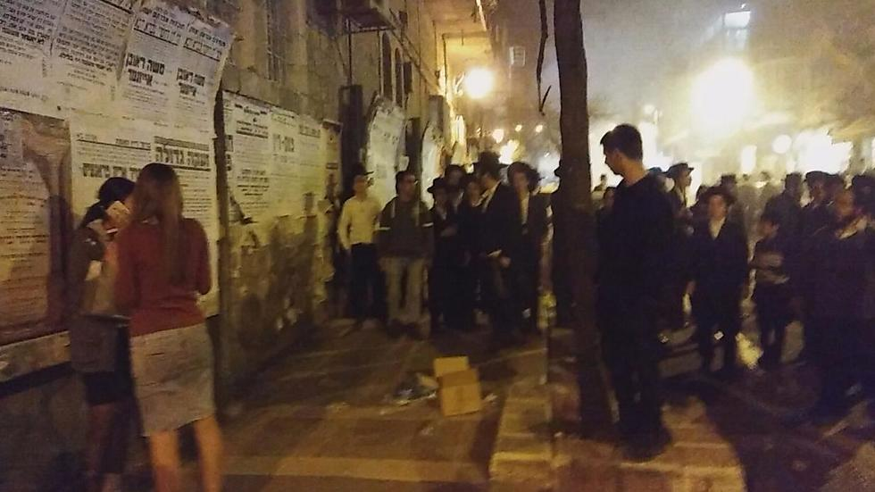 The two young women were accosted by dozens of Haredi youths (Photo: David Perlmutter)