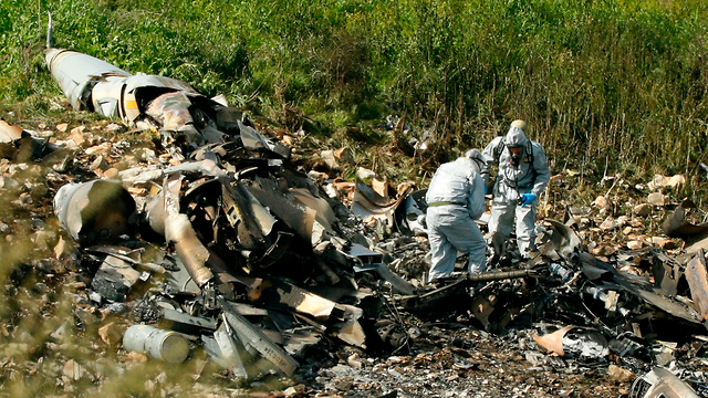 Debris of the downed F-16 plane in northern Israel  (Photo: AFP)