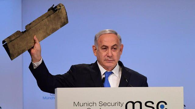 PM presents piece of an Iranian drone he says Israel shot down on February 10 (Photo: Amos Ben Gershom/GPO)