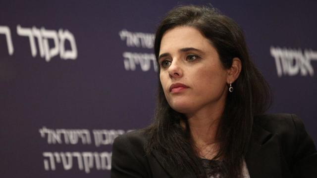 Justice Minister Shaked said she was not afraid of going to the opposition for 'a few years' (Photo: Hillel Meir/TPS)