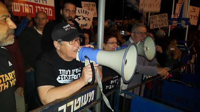 Paz, in a pro-expulsion protest (Photo: Yair Cohen)