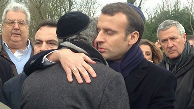 French President Macron (R) attended Knoll's funeral