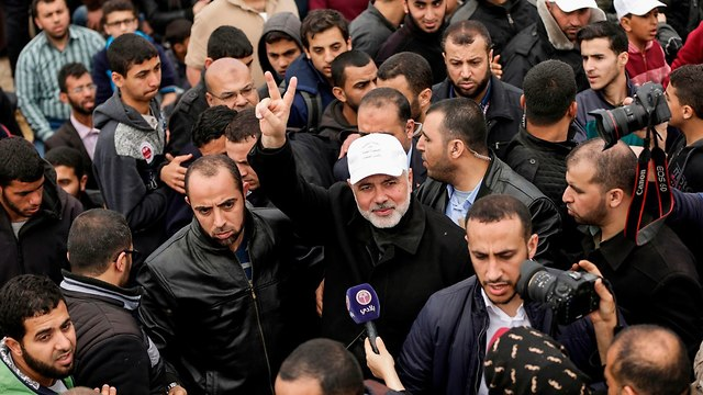 Hamas leader Haniyeh, at the protest (Photo: AFP)