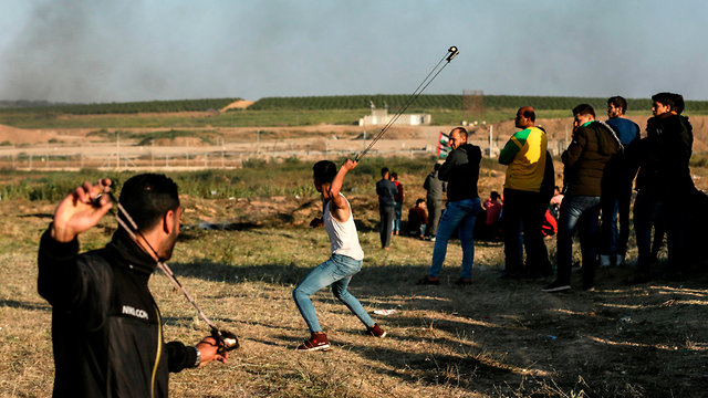 Palestinian protesters on Saturday (Photo: AFP)