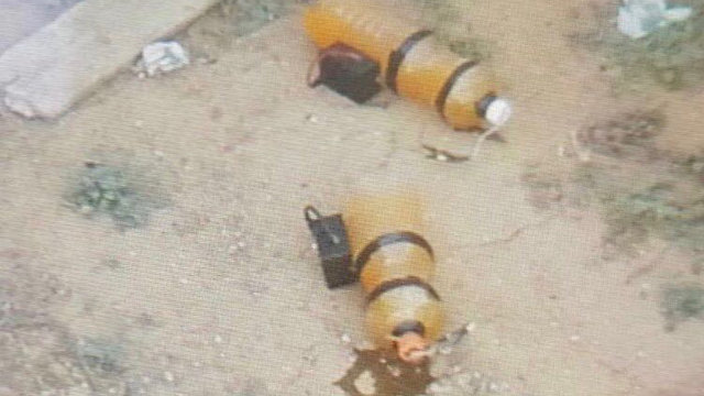 The 2 IEDs discovered in the wake of the Palestinians' incursion (Photo: IDF Spokesperson's Unit)