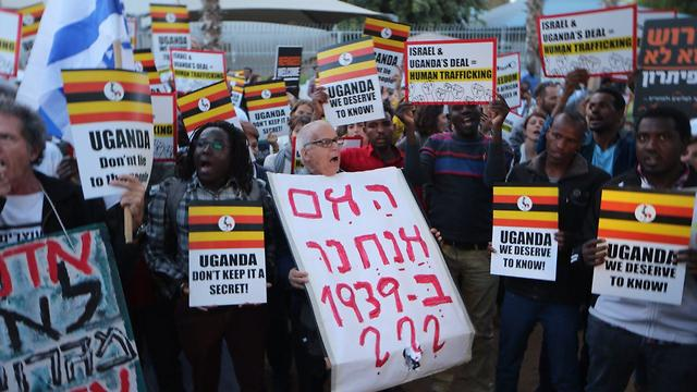 A rally against Uganda's alleged intention to take in forcibly deported migrants (Photo: Motti Kimchi)